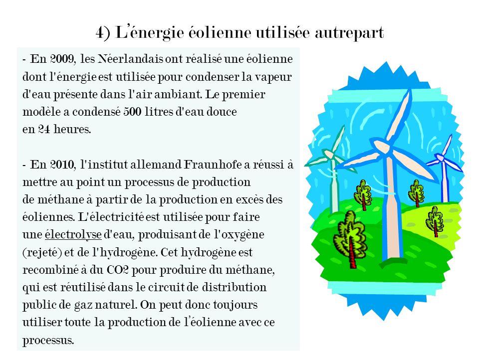 4) Lénergie éolienne utilisée autrepart - En 2009, les Néerlandais ont réalisé une éolienne dont l'énergie est utilisée pour condenser la vapeur d'eau