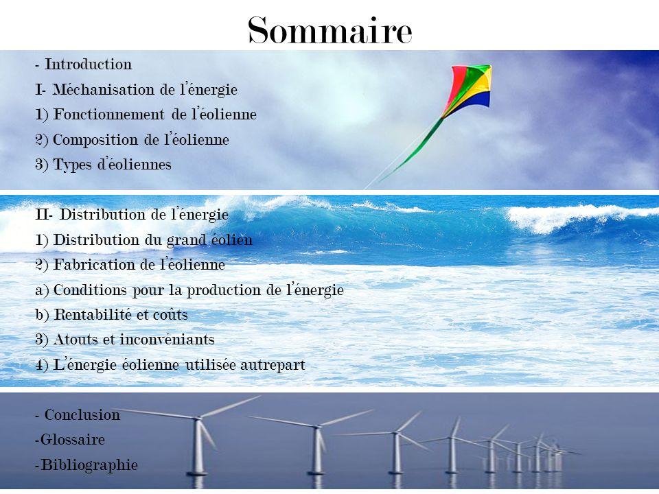 Sommaire - Introduction I- Méchanisation de lénergie 1) Fonctionnement de léolienne 2) Composition de léolienne 3) Types déoliennes II- Distribution de lénergie 1) Distribution du grand éolien 2) Fabrication de léolienne a) Conditions pour la production de lénergie b) Rentabilité et coûts 3) Atouts et inconvéniants 4) Lénergie éolienne utilisée autrepart - Conclusion -Glossaire -Bibliographie