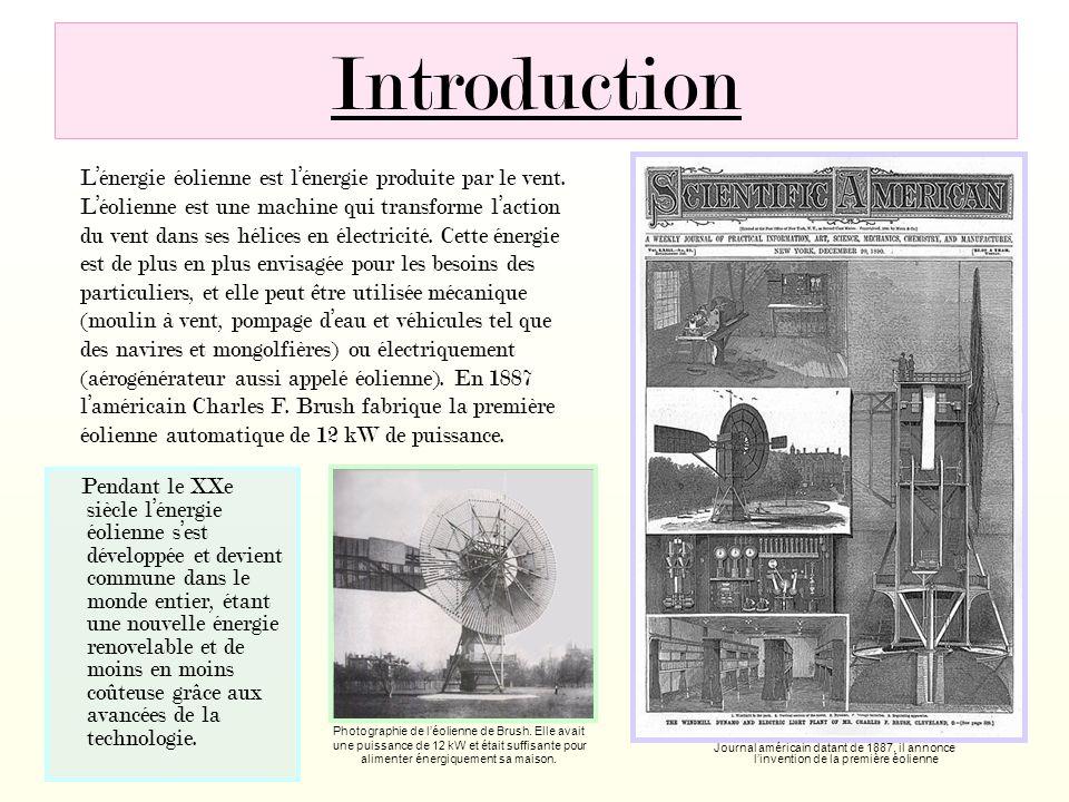 Introduction Lénergie éolienne est lénergie produite par le vent. Léolienne est une machine qui transforme laction du vent dans ses hélices en électri