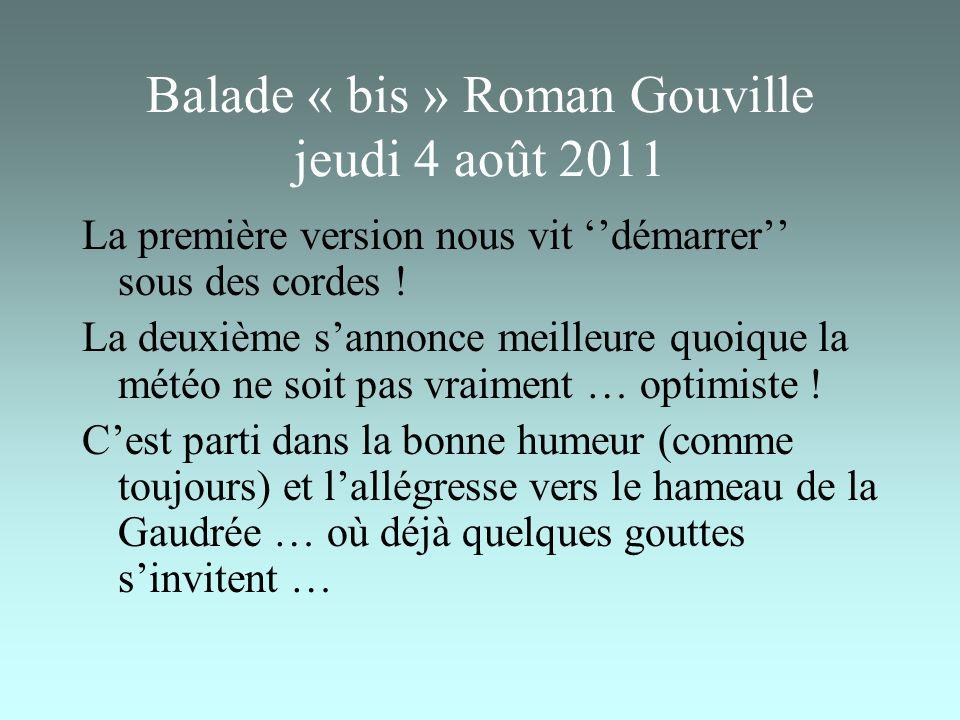Balade « bis » Roman Gouville jeudi 4 août 2011 La première version nous vit démarrer sous des cordes .
