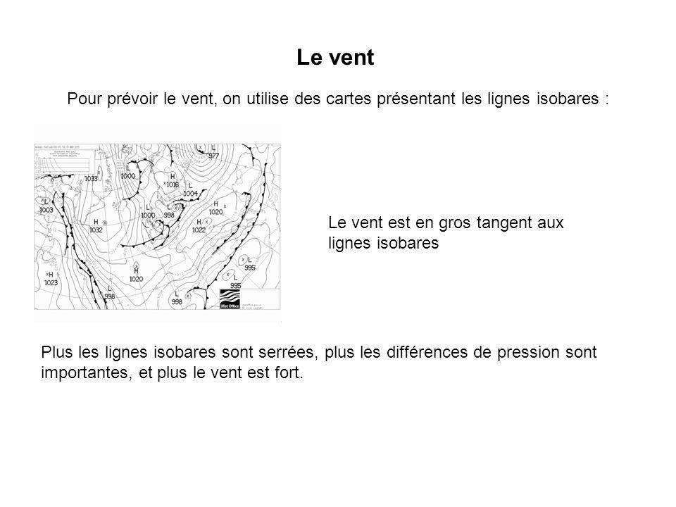 Le vent Pour prévoir le vent, on utilise des cartes présentant les lignes isobares : Le vent est en gros tangent aux lignes isobares Plus les lignes i