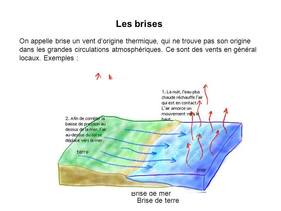 Les brises On appelle brise un vent dorigine thermique, qui ne trouve pas son origine dans les grandes circulations atmosphériques. Ce sont des vents
