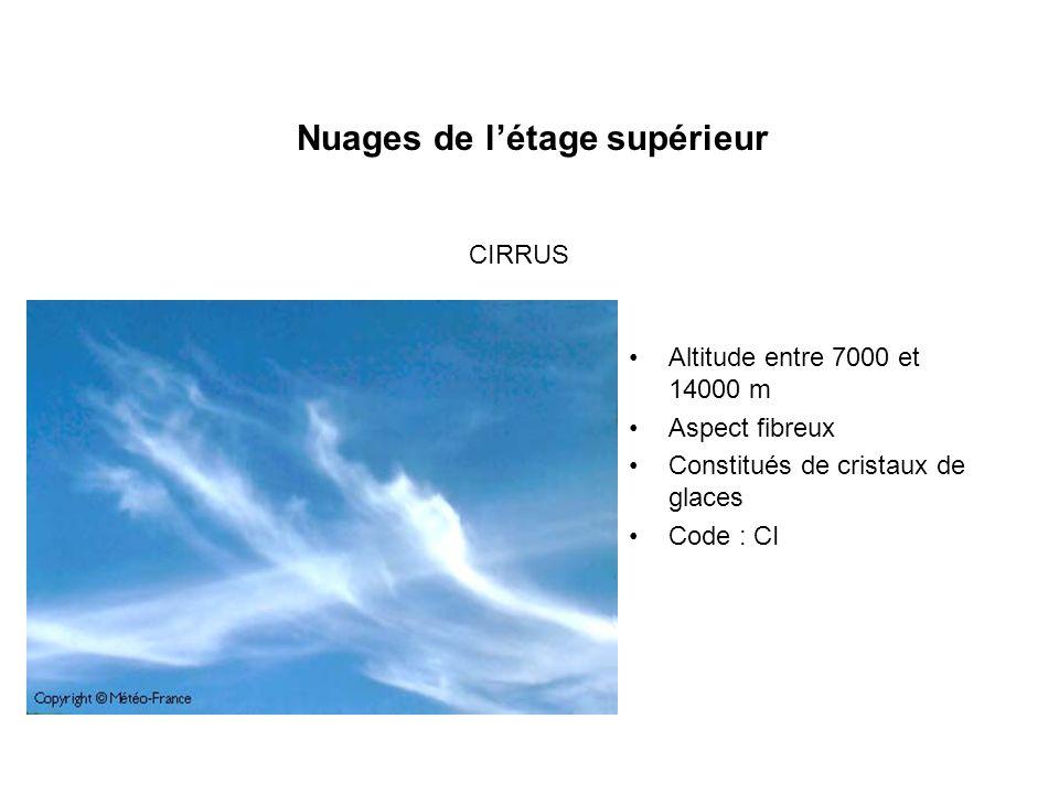 Nuages de létage supérieur Altitude entre 7000 et 14000 m Aspect fibreux Constitués de cristaux de glaces Code : CI CIRRUS
