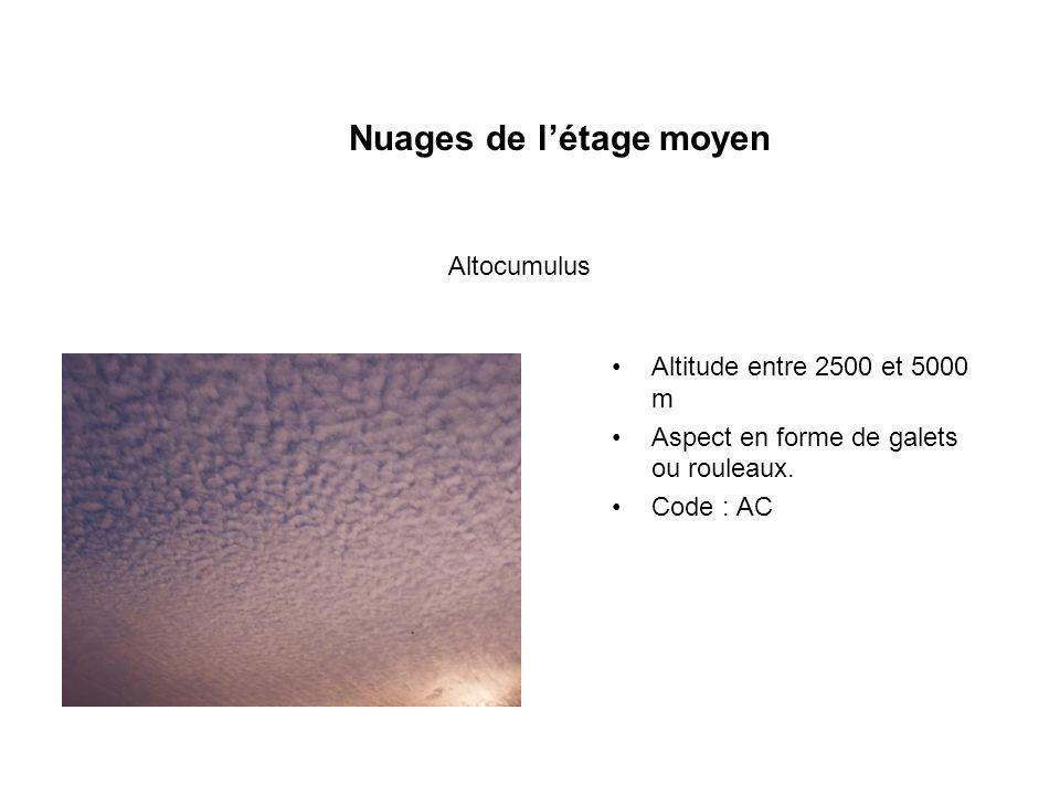 Nuages de létage moyen Altitude entre 2500 et 5000 m Aspect en forme de galets ou rouleaux. Code : AC Altocumulus