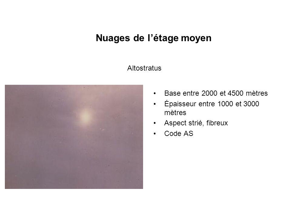 Nuages de létage moyen Base entre 2000 et 4500 mètres Épaisseur entre 1000 et 3000 mètres Aspect strié, fibreux Code AS Altostratus