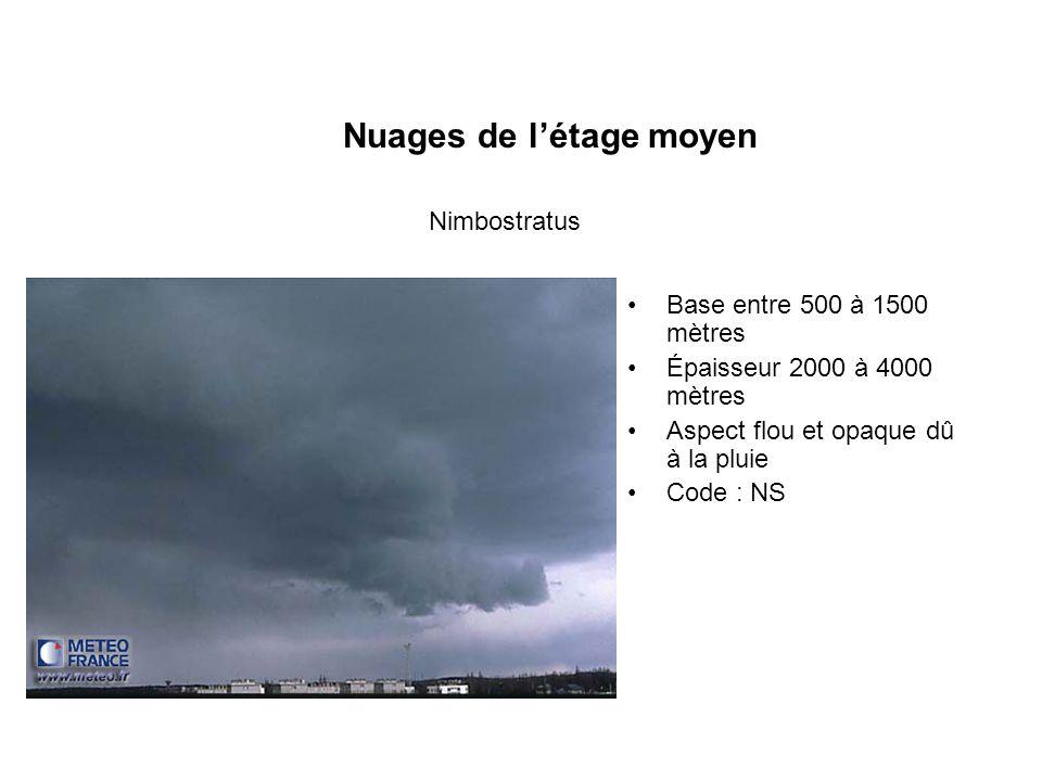 Nuages de létage moyen Base entre 500 à 1500 mètres Épaisseur 2000 à 4000 mètres Aspect flou et opaque dû à la pluie Code : NS Nimbostratus