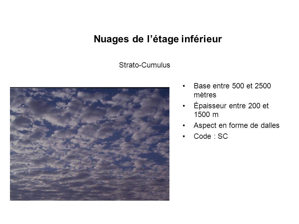Nuages de létage inférieur Base entre 500 et 2500 mètres Épaisseur entre 200 et 1500 m Aspect en forme de dalles Code : SC Strato-Cumulus