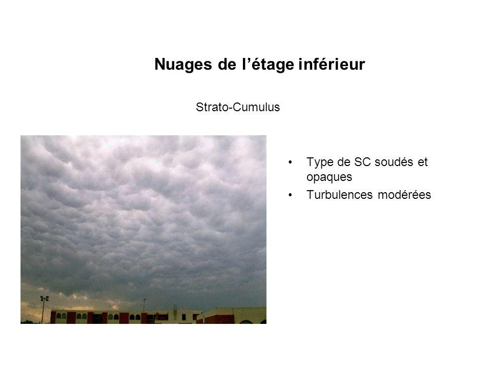 Nuages de létage inférieur Type de SC soudés et opaques Turbulences modérées Strato-Cumulus