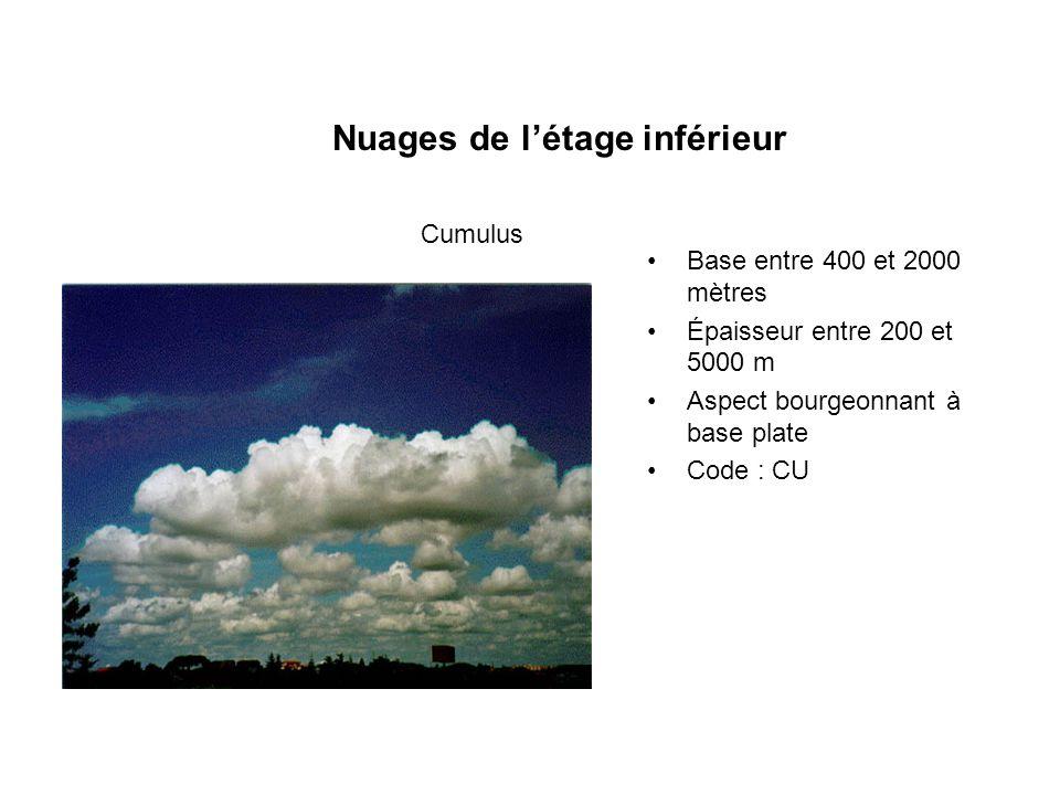 Nuages de létage inférieur Base entre 400 et 2000 mètres Épaisseur entre 200 et 5000 m Aspect bourgeonnant à base plate Code : CU Cumulus