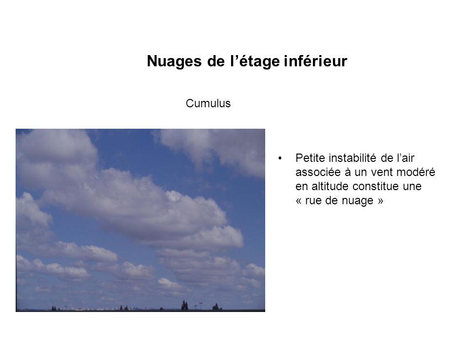 Nuages de létage inférieur Petite instabilité de lair associée à un vent modéré en altitude constitue une « rue de nuage » Cumulus