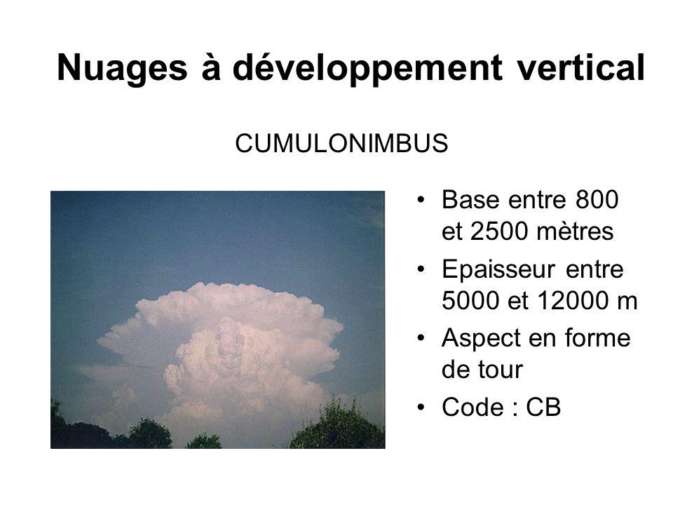 Nuages à développement vertical Base entre 800 et 2500 mètres Epaisseur entre 5000 et 12000 m Aspect en forme de tour Code : CB CUMULONIMBUS