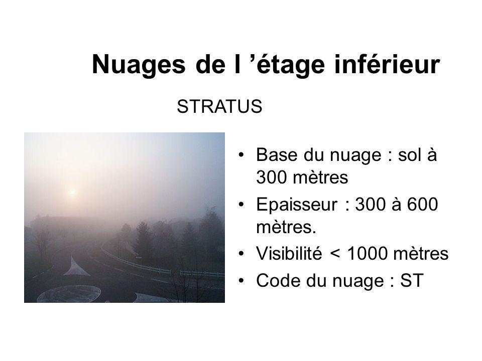 Nuages de l étage inférieur Base du nuage : sol à 300 mètres Epaisseur : 300 à 600 mètres. Visibilité < 1000 mètres Code du nuage : ST STRATUS