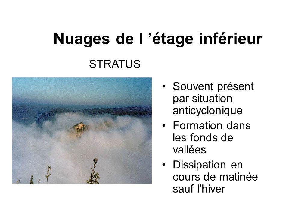 Nuages de l étage inférieur STRATUS Souvent présent par situation anticyclonique Formation dans les fonds de vallées Dissipation en cours de matinée s