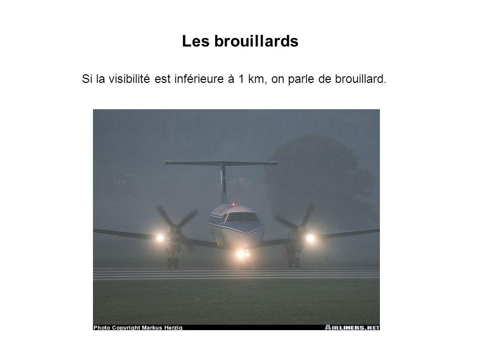 Les brouillards Si la visibilité est inférieure à 1 km, on parle de brouillard.