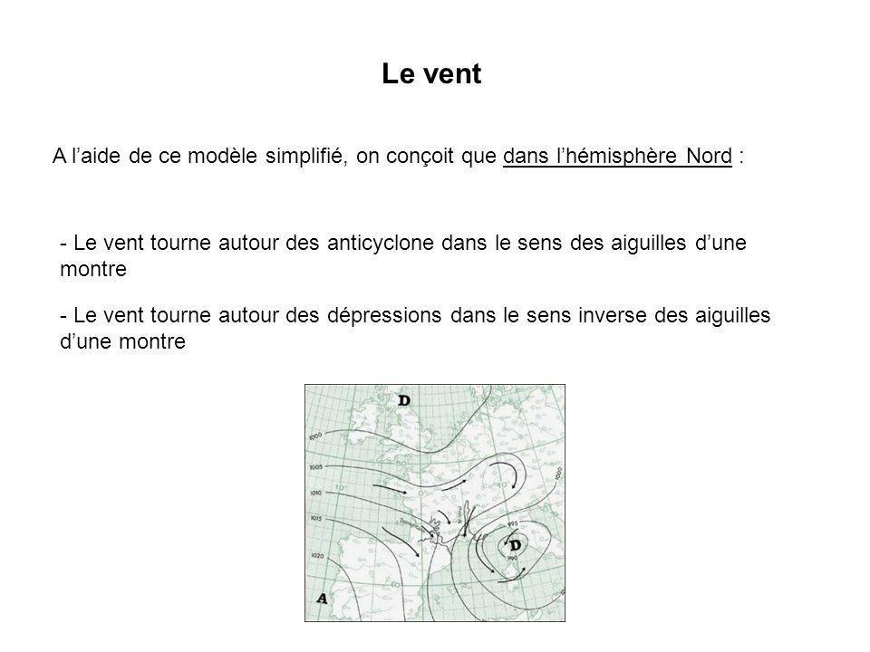 Le vent A laide de ce modèle simplifié, on conçoit que dans lhémisphère Nord : - Le vent tourne autour des anticyclone dans le sens des aiguilles dune