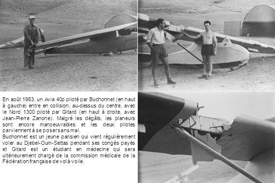 En août 1953, un Avia 40p piloté par Buchonnet (en haut à gauche) entre en collision, au-dessus du centre, avec le Nord 1300 piloté par Gitard (en hau