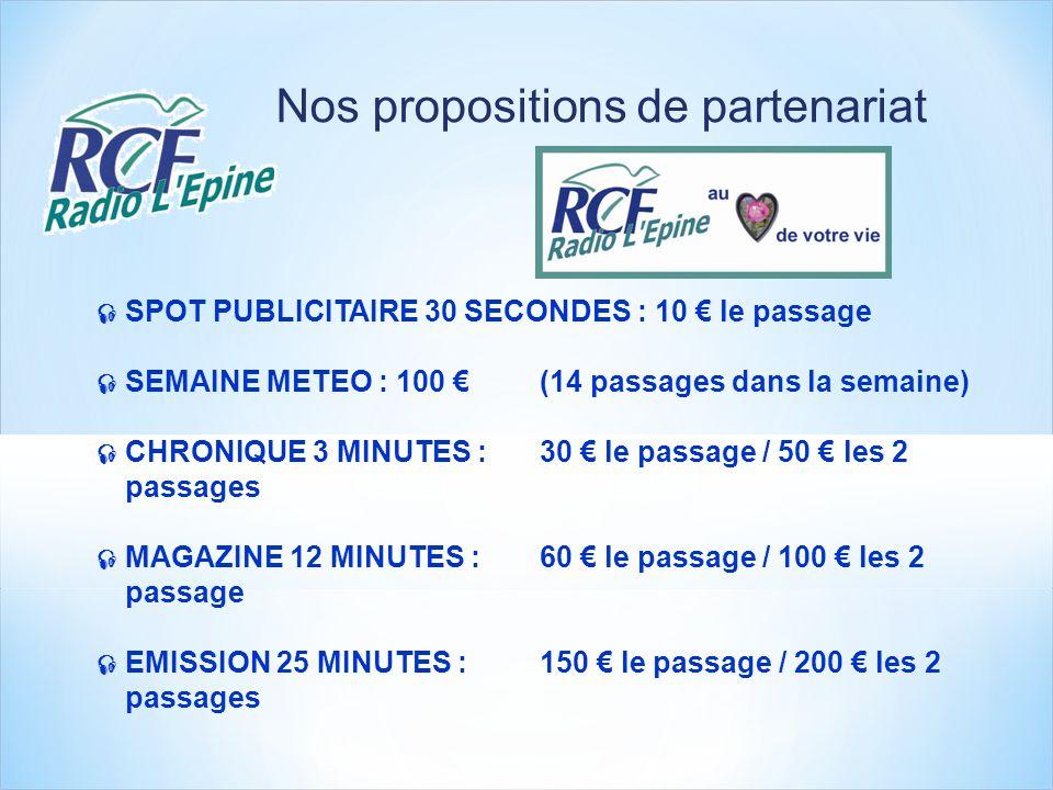 Nos propositions de partenariat SPOT PUBLICITAIRE 30 SECONDES : 10 le passage SEMAINE METEO : 100 (14 passages dans la semaine) CHRONIQUE 3 MINUTES :30 le passage / 50 les 2 passages MAGAZINE 12 MINUTES :60 le passage / 100 les 2 passage EMISSION 25 MINUTES :150 le passage / 200 les 2 passages
