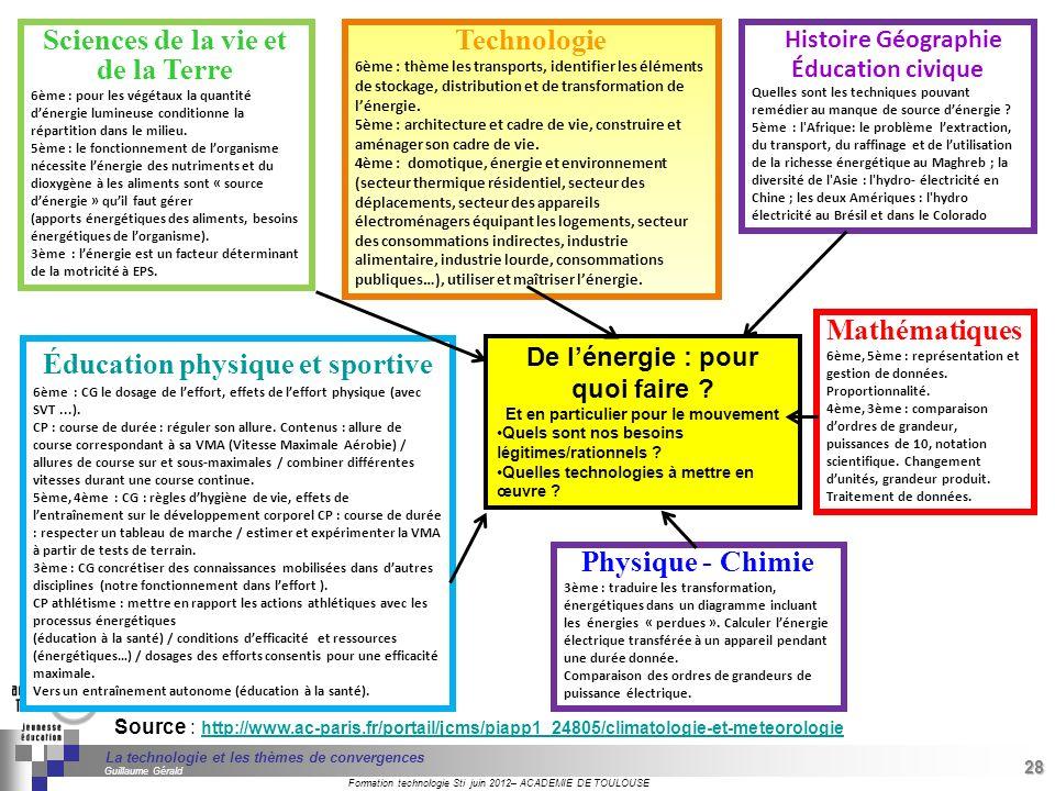 28 Séminaire « Définition de Produits » : méthodologie de définition dune pièce GREC INITIALES Formation technologie Sti juin 2012– ACADEMIE DE TOULOUSE 28 La technologie et les thèmes de convergences Guillaume Gérald Source : http://www.ac-paris.fr/portail/jcms/piapp1_24805/climatologie-et-meteorologie http://www.ac-paris.fr/portail/jcms/piapp1_24805/climatologie-et-meteorologie Sciences de la vie et de la Terre 6ème : pour les végétaux la quantité dénergie lumineuse conditionne la répartition dans le milieu.
