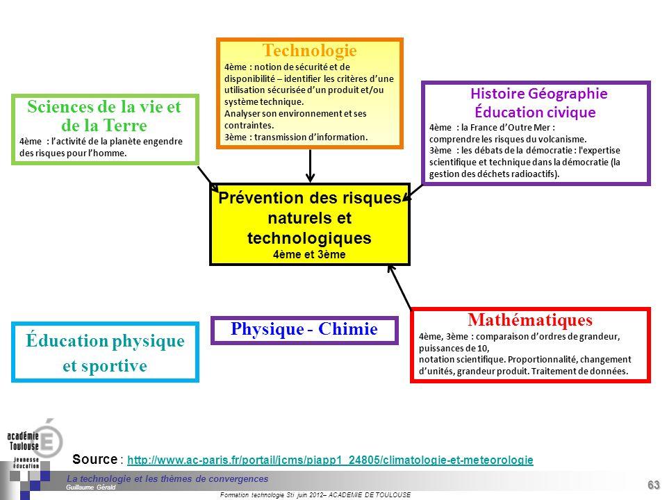 63 Séminaire « Définition de Produits » : méthodologie de définition dune pièce GREC INITIALES Formation technologie Sti juin 2012– ACADEMIE DE TOULOUSE 63 La technologie et les thèmes de convergences Guillaume Gérald Source : http://www.ac-paris.fr/portail/jcms/piapp1_24805/climatologie-et-meteorologie http://www.ac-paris.fr/portail/jcms/piapp1_24805/climatologie-et-meteorologie Sciences de la vie et de la Terre 4ème : lactivité de la planète engendre des risques pour lhomme.