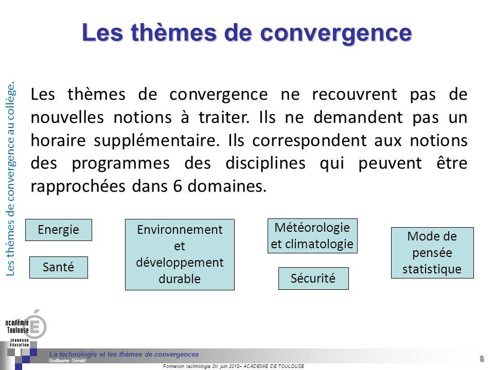 49 Séminaire « Définition de Produits » : méthodologie de définition dune pièce GREC INITIALES Formation technologie Sti juin 2012– ACADEMIE DE TOULOUSE 49 La technologie et les thèmes de convergences Guillaume Gérald Source : http://www.ac-paris.fr/portail/jcms/piapp1_24805/climatologie-et-meteorologie http://www.ac-paris.fr/portail/jcms/piapp1_24805/climatologie-et-meteorologie Sciences de la vie et de la Terre 6ème à 3ème : lecture, construction et interprétation : - dun tableau, - dun diagramme, - dun graphique Technologie Histoire Géographie Éducation civique Types de documents : tableaux statistiques, histogrammes, courbes, diagrammes circulaires, cartes par anamorphose, pyramides des âges.