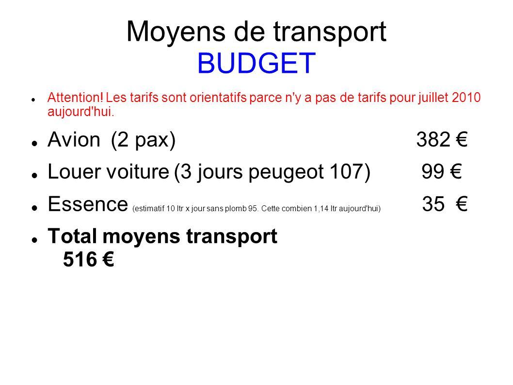 Moyens de transport BUDGET Attention! Les tarifs sont orientatifs parce n'y a pas de tarifs pour juillet 2010 aujourd'hui. Avion (2 pax) 382 Louer voi