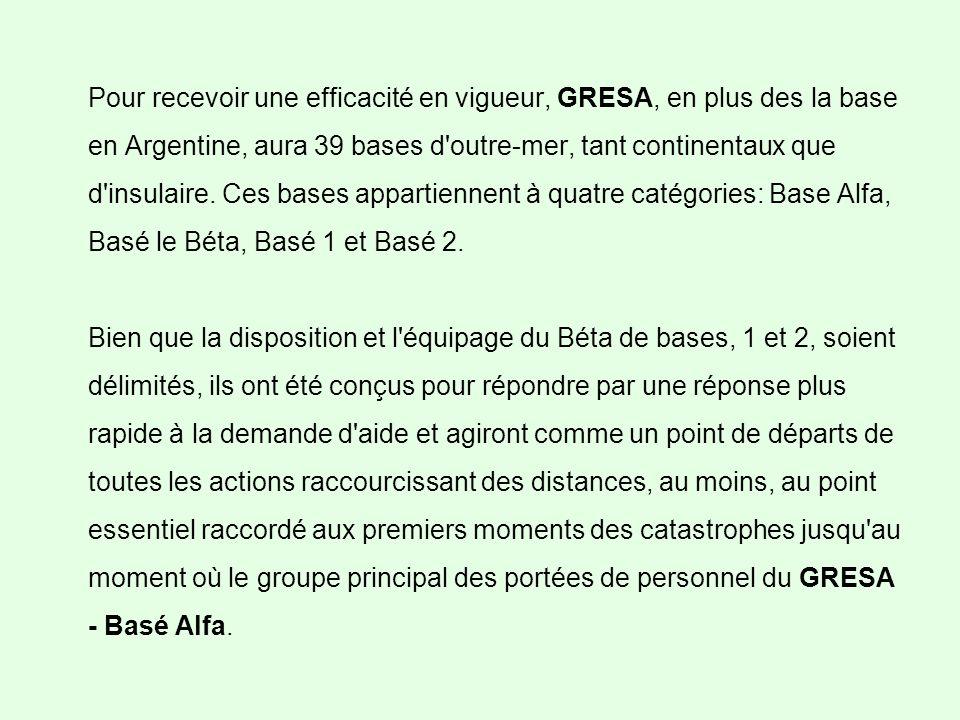 Pour recevoir une efficacité en vigueur, GRESA, en plus des la base en Argentine, aura 39 bases d outre-mer, tant continentaux que d insulaire.