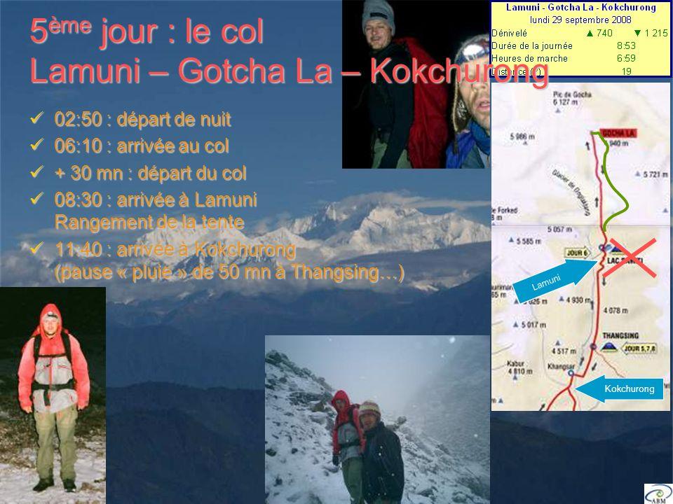 02:50 : départ de nuit 02:50 : départ de nuit 06:10 : arrivée au col 06:10 : arrivée au col + 30 mn : départ du col + 30 mn : départ du col 08:30 : arrivée à Lamuni Rangement de la tente 08:30 : arrivée à Lamuni Rangement de la tente 11:40 : arrivée à Kokchurong (pause « pluie » de 50 mn à Thangsing…) 11:40 : arrivée à Kokchurong (pause « pluie » de 50 mn à Thangsing…) Kokchurong Lamuni 5 ème jour : le col Lamuni – Gotcha La – Kokchurong