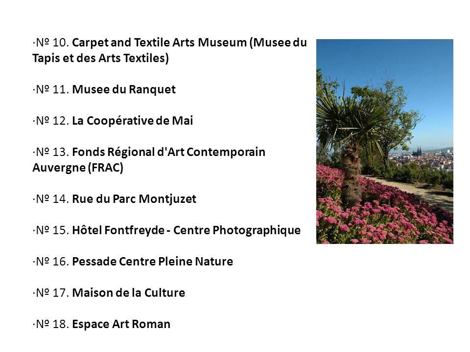 ·Nº 10. Carpet and Textile Arts Museum (Musee du Tapis et des Arts Textiles) ·Nº 11. Musee du Ranquet ·Nº 12. La Coopérative de Mai ·Nº 13. Fonds Régi