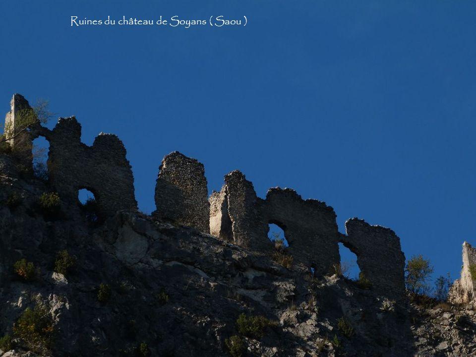 Le rocher de la Laveuse depuis le village des Auberts