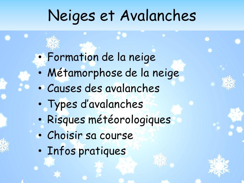 Neiges et Avalanches Formation de la neige Métamorphose de la neige Causes des avalanches Types davalanches Risques météorologiques Choisir sa course