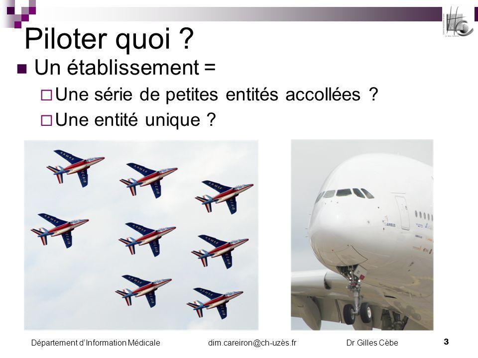 Département dInformation Médicale dim.careiron@ch-uzès.fr Dr Gilles Cèbe 4 Piloter comment .