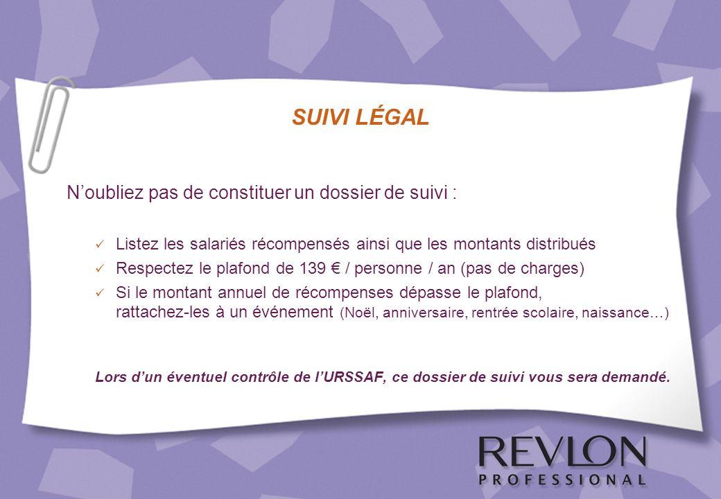 SUIVI LÉGAL Noubliez pas de constituer un dossier de suivi : Listez les salariés récompensés ainsi que les montants distribués Respectez le plafond de