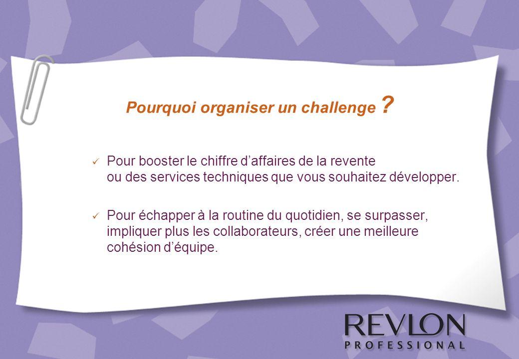 Pourquoi organiser un challenge ? Pour booster le chiffre daffaires de la revente ou des services techniques que vous souhaitez développer. Pour échap