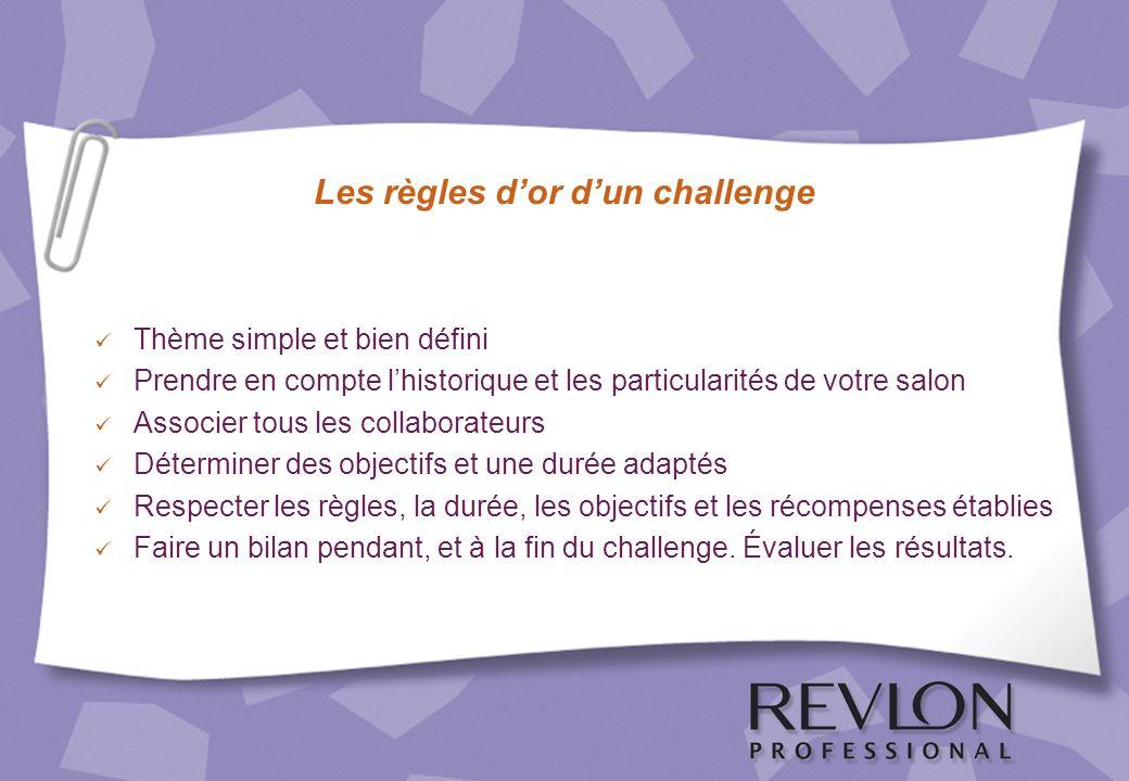 Les règles dor dun challenge Thème simple et bien défini Prendre en compte lhistorique et les particularités de votre salon Associer tous les collabor