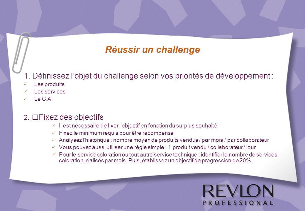 Réussir un challenge 1. Définissez lobjet du challenge selon vos priorités de développement : Les produits Les services Le C.A. 2. Fixez des objectifs