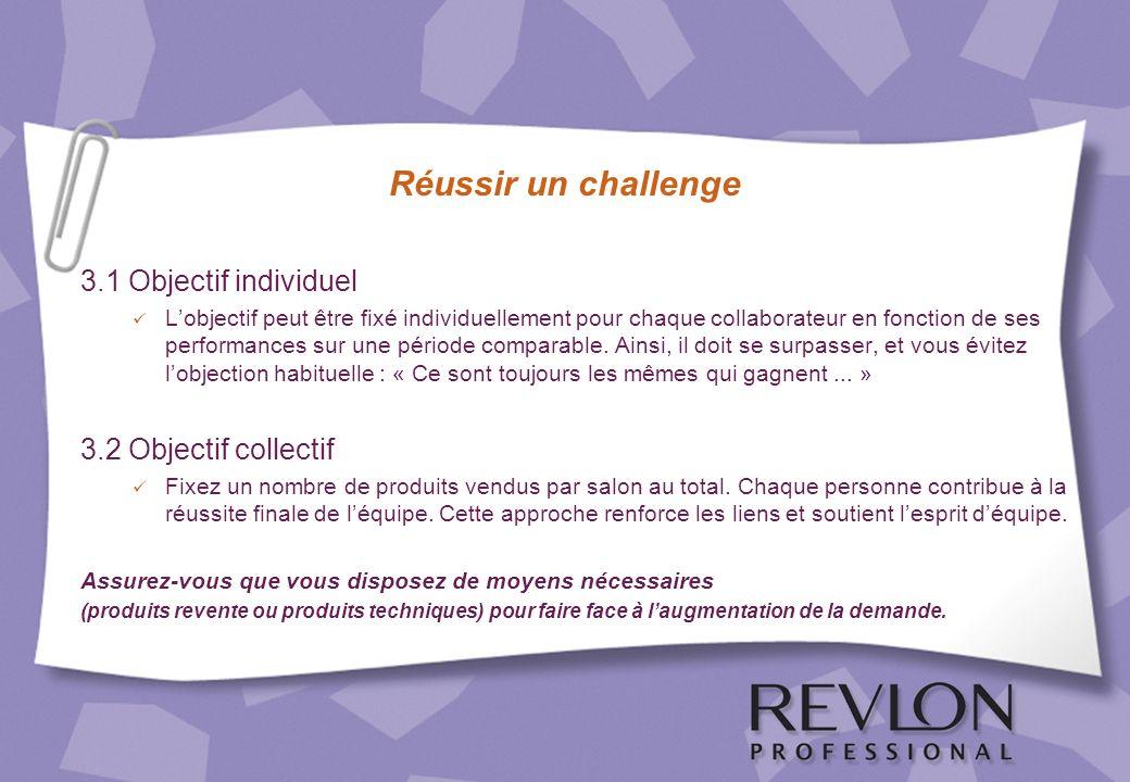 Réussir un challenge 3.1 Objectif individuel Lobjectif peut être fixé individuellement pour chaque collaborateur en fonction de ses performances sur u