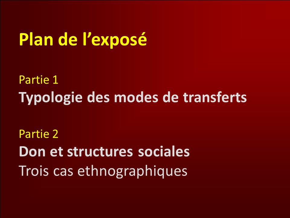 Plan de lexposé Partie 1 Typologie des modes de transferts Partie 2 Don et structures sociales Trois cas ethnographiques