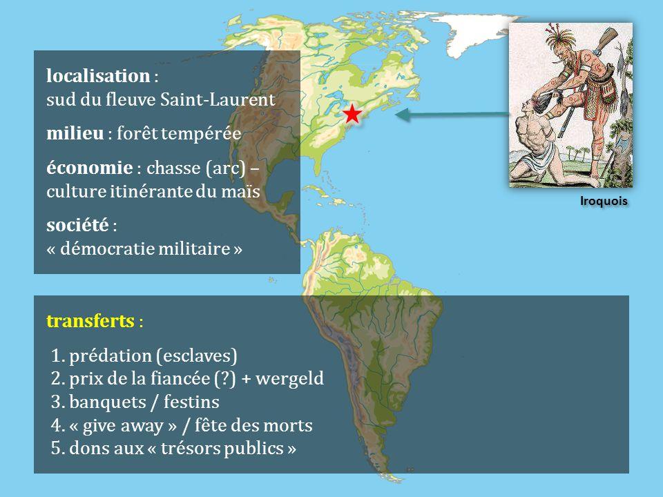 Iroquois localisation : sud du fleuve Saint-Laurent milieu : forêt tempérée économie : chasse (arc) – culture itinérante du maïs société : « démocratie militaire » transferts : 1.