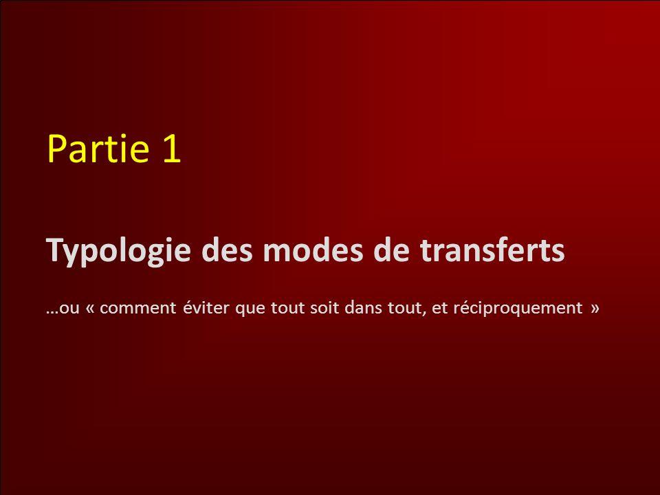 Partie 1 Typologie des modes de transferts …ou « comment éviter que tout soit dans tout, et réciproquement »