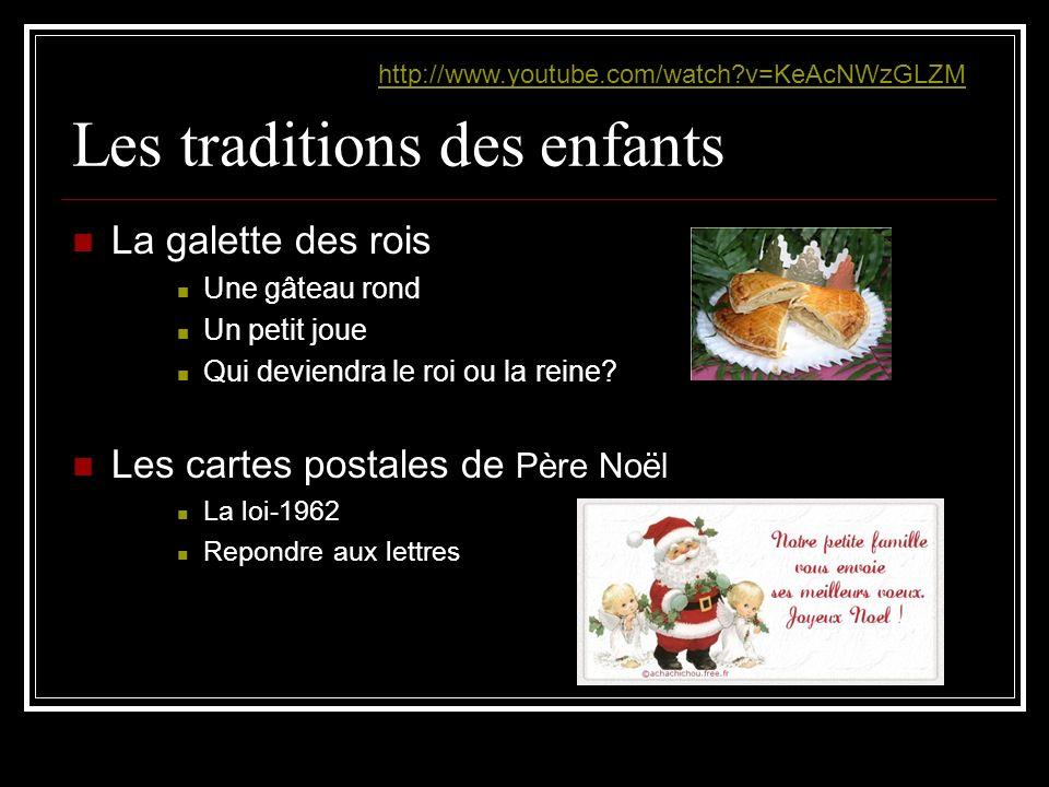 Les traditions des enfants La galette des rois Une gâteau rond Un petit joue Qui deviendra le roi ou la reine? Les cartes postales de Père Noël La loi