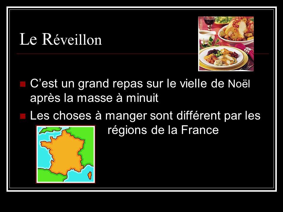 Le R éveillon Cest un grand repas sur le vielle de Noël après la masse à minuit Les choses à manger sont différent par les régions de la France