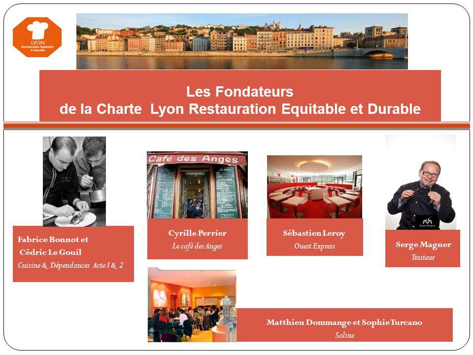 Les Fondateurs de la Charte Lyon Restauration Equitable et Durable Fabrice Bonnot et Cédric Le Gouil Cuisine & Dépendances Acte I & 2 Nous proposons é