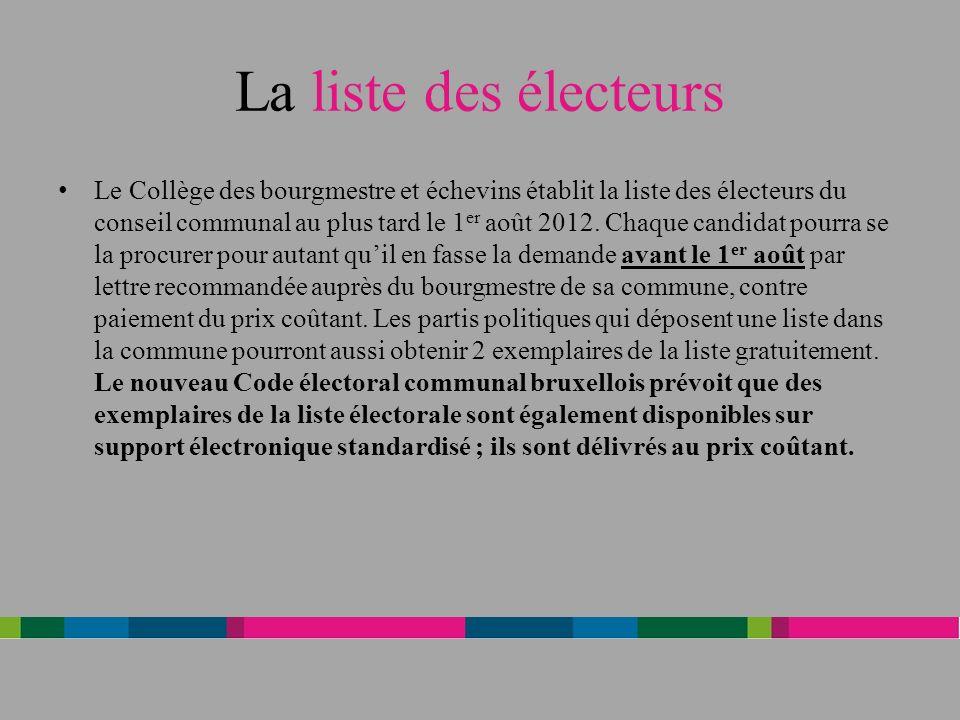 La liste des électeurs Le Collège des bourgmestre et échevins établit la liste des électeurs du conseil communal au plus tard le 1 er août 2012.