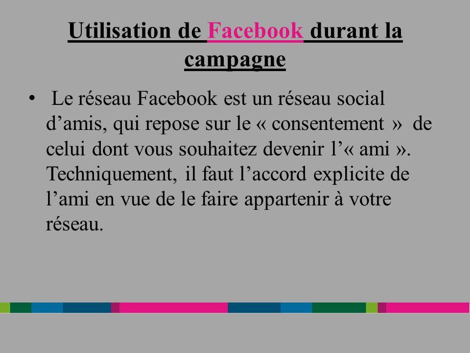 Utilisation de Facebook durant la campagne Le réseau Facebook est un réseau social damis, qui repose sur le « consentement » de celui dont vous souhaitez devenir l« ami ».