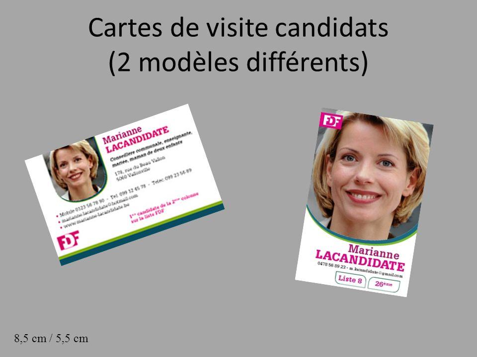 Cartes de visite candidats (2 modèles différents) 8,5 cm / 5,5 cm