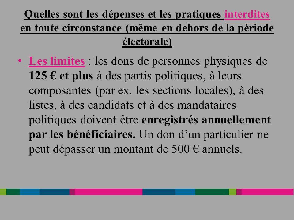 Quelles sont les dépenses et les pratiques interdites en toute circonstance (même en dehors de la période électorale) Les limites : les dons de personnes physiques de 125 et plus à des partis politiques, à leurs composantes (par ex.