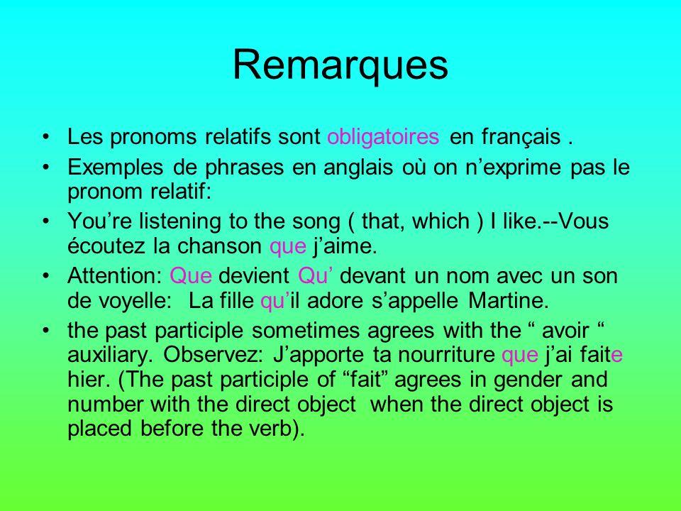 Remarques Les pronoms relatifs sont obligatoires en français.