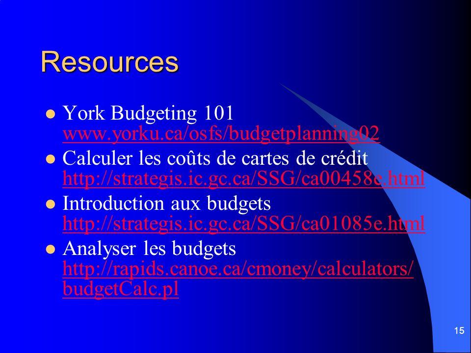 15 Resources York Budgeting 101 www.yorku.ca/osfs/budgetplanning02 www.yorku.ca/osfs/budgetplanning02 Calculer les coûts de cartes de crédit http://st