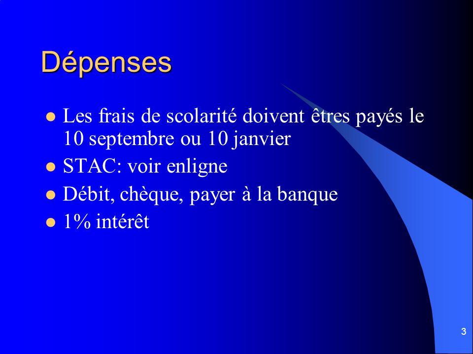 3 Dépenses Les frais de scolarité doivent êtres payés le 10 septembre ou 10 janvier STAC: voir enligne Débit, chèque, payer à la banque 1% intérêt