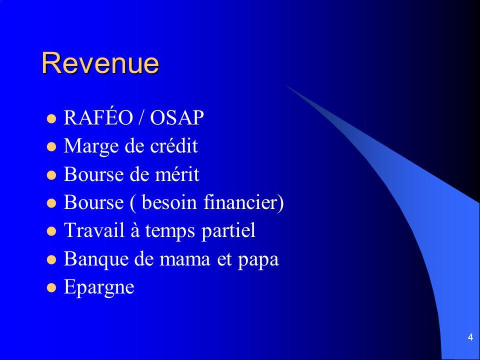 4 Revenue RAFÉO / OSAP Marge de crédit Bourse de mérit Bourse ( besoin financier) Travail à temps partiel Banque de mama et papa Epargne